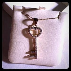Jewelry - Vermeil and CZ Key Pendant w/ Chain